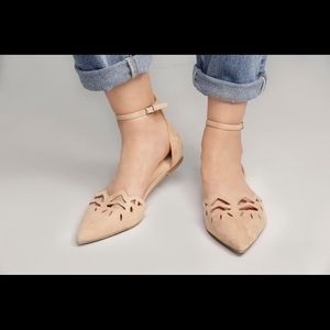 Shoes - Ankle strap camel flats